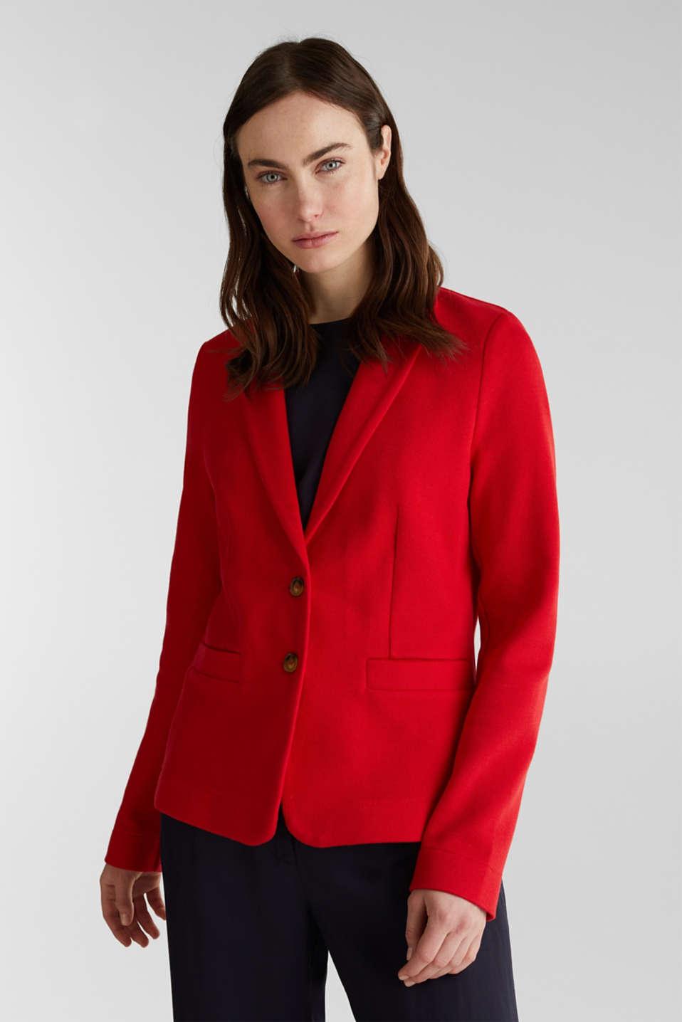 Fitted stretch piqué blazer, DARK RED, detail image number 0