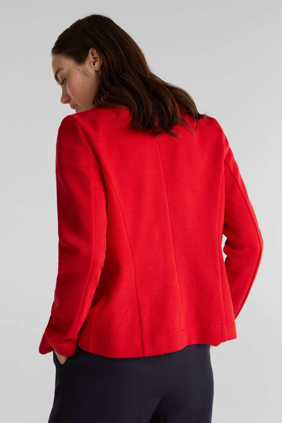 Fitted stretch piqué blazer, DARK RED, detail image number 3