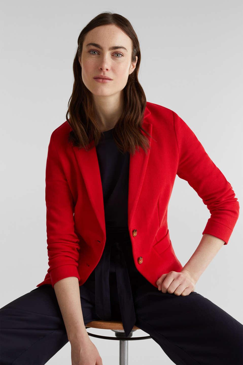 Fitted stretch piqué blazer, DARK RED, detail image number 6