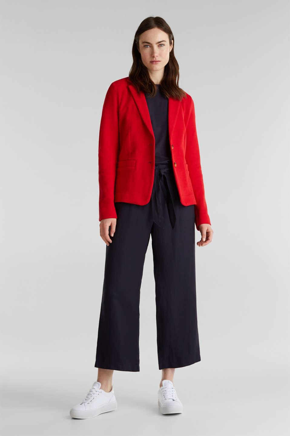 Fitted stretch piqué blazer, DARK RED, detail image number 1