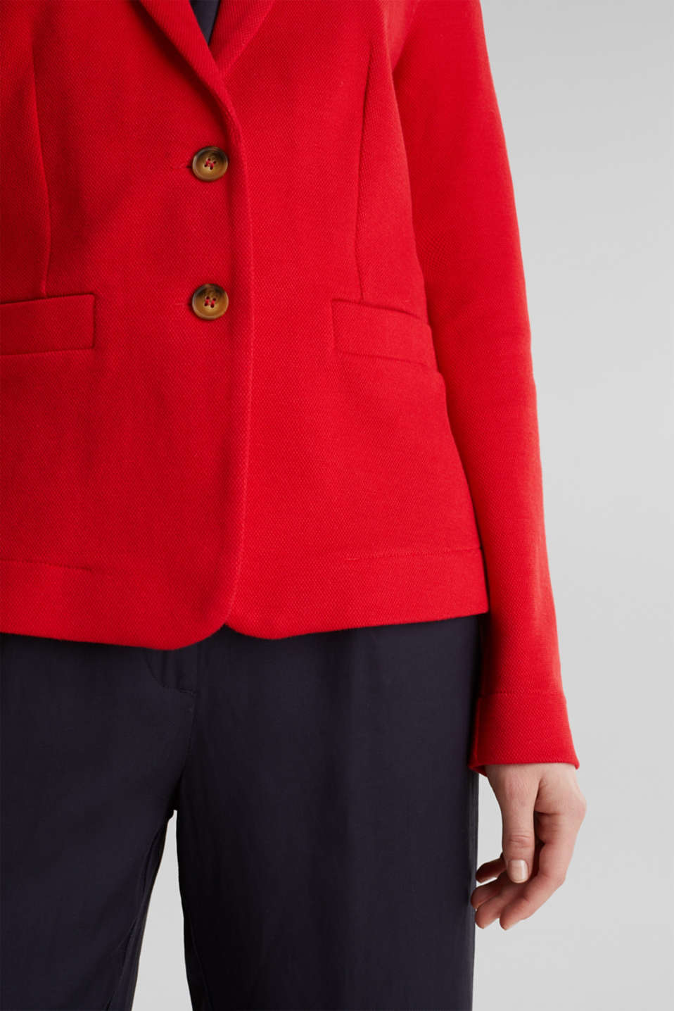 Fitted stretch piqué blazer, DARK RED, detail image number 2