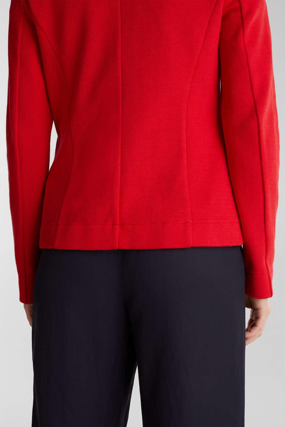 Fitted stretch piqué blazer, DARK RED, detail image number 5