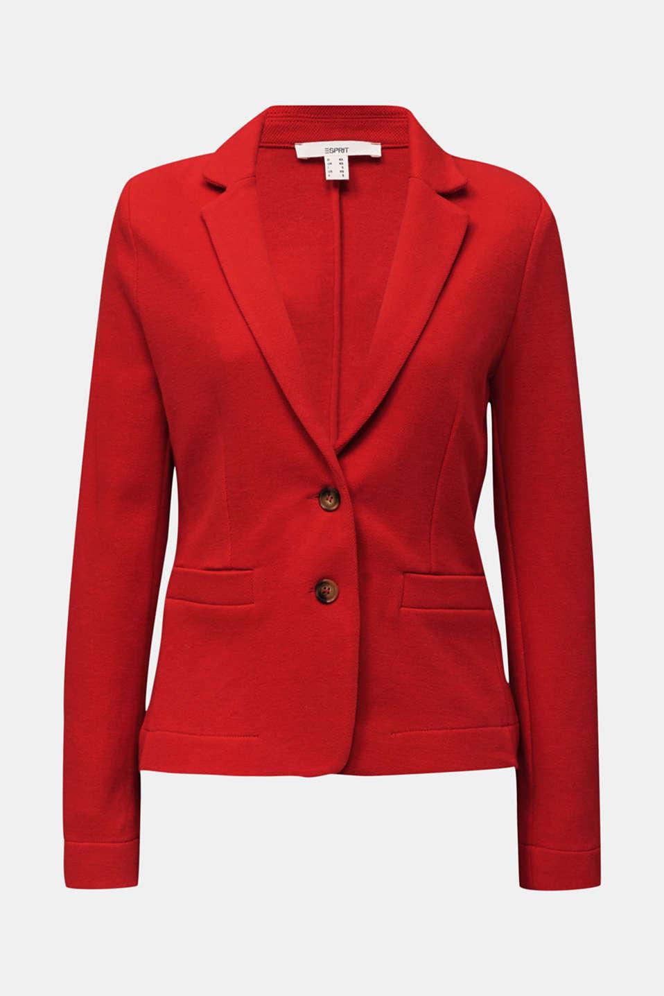 Fitted stretch piqué blazer, DARK RED, detail image number 7