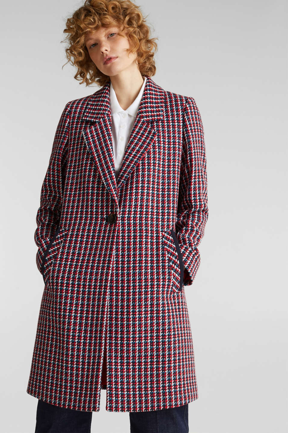 Coat with a colourful houndstooth pattern, NAVY 3, detail image number 0