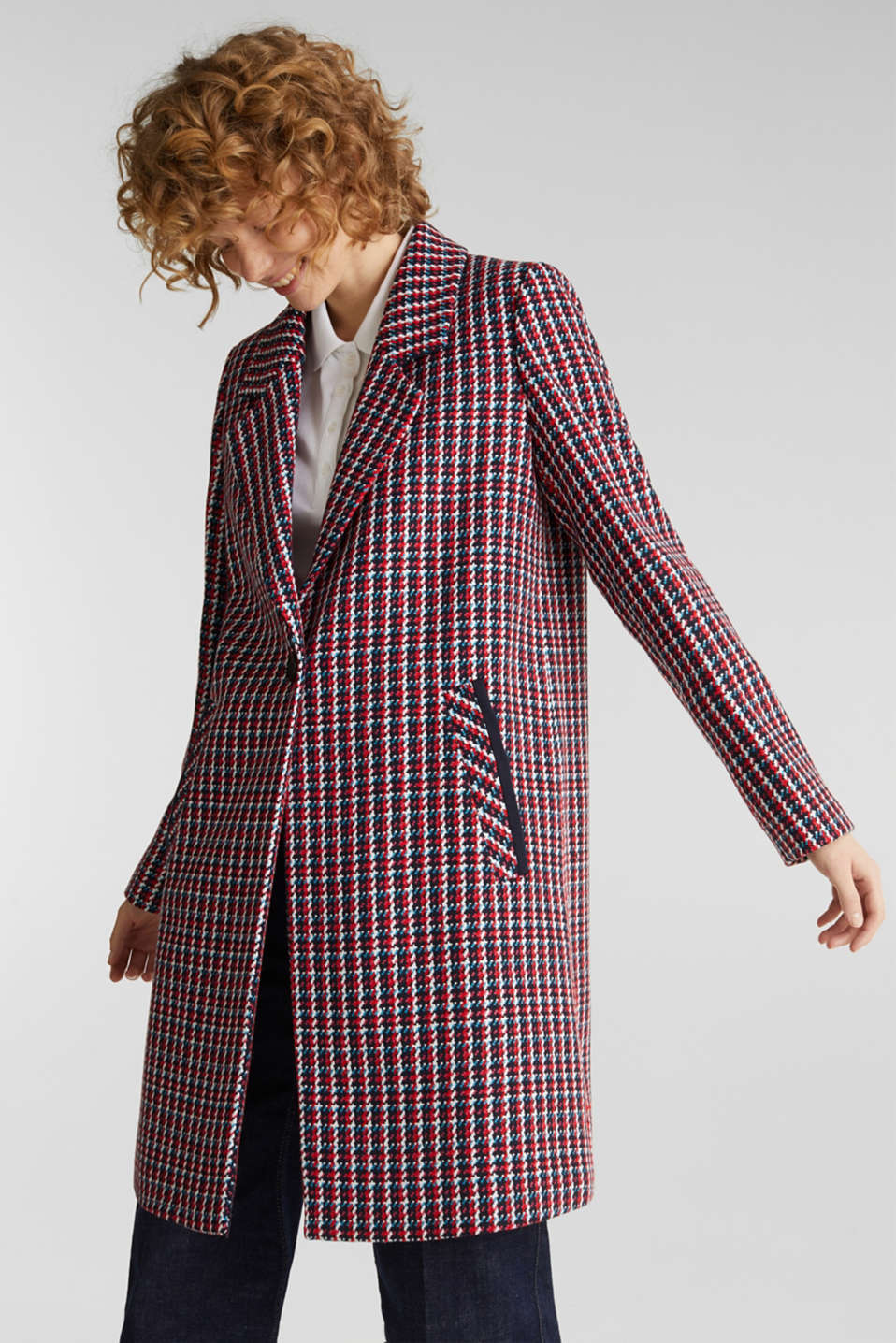 Coat with a colourful houndstooth pattern, NAVY 3, detail image number 6