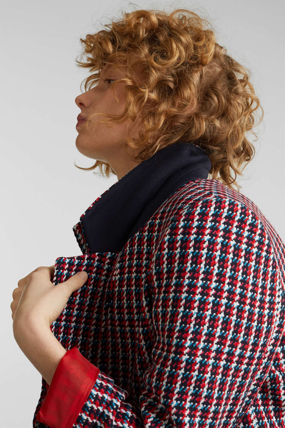 Coat with a colourful houndstooth pattern, NAVY 3, detail image number 2