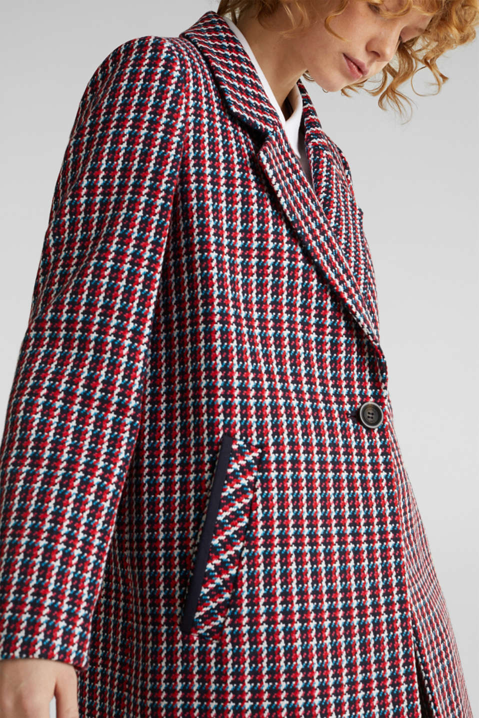 Coat with a colourful houndstooth pattern, NAVY 3, detail image number 5