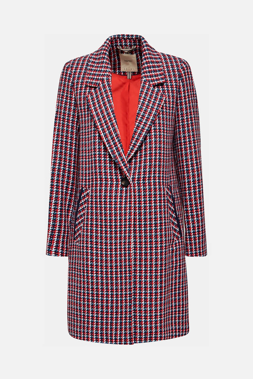 Coat with a colourful houndstooth pattern, NAVY 3, detail image number 7
