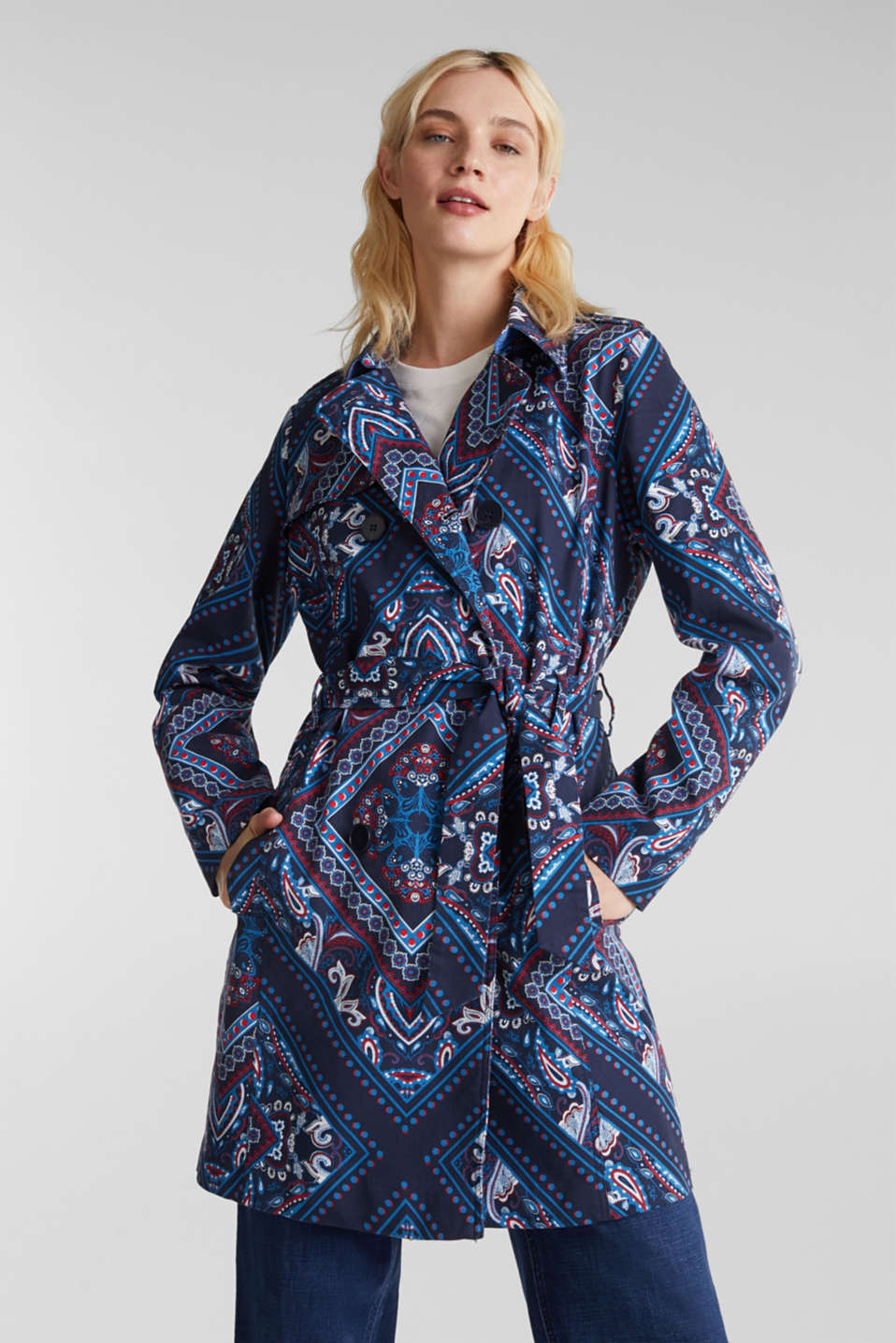 Trench coat with a bandana print, NAVY 4, detail image number 0