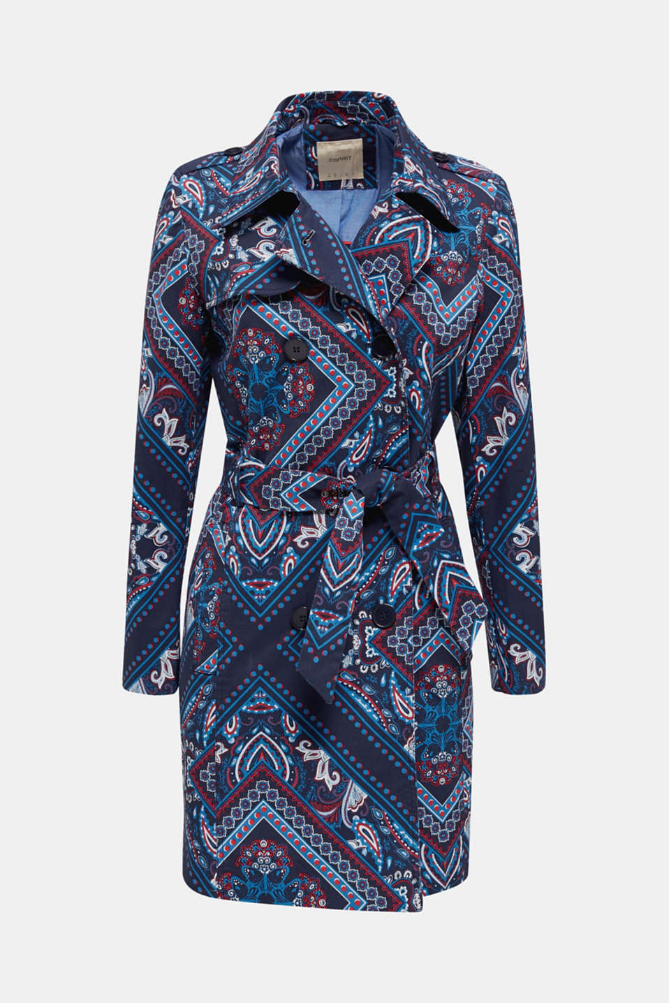 Trench coat with a bandana print, NAVY 4, detail image number 5