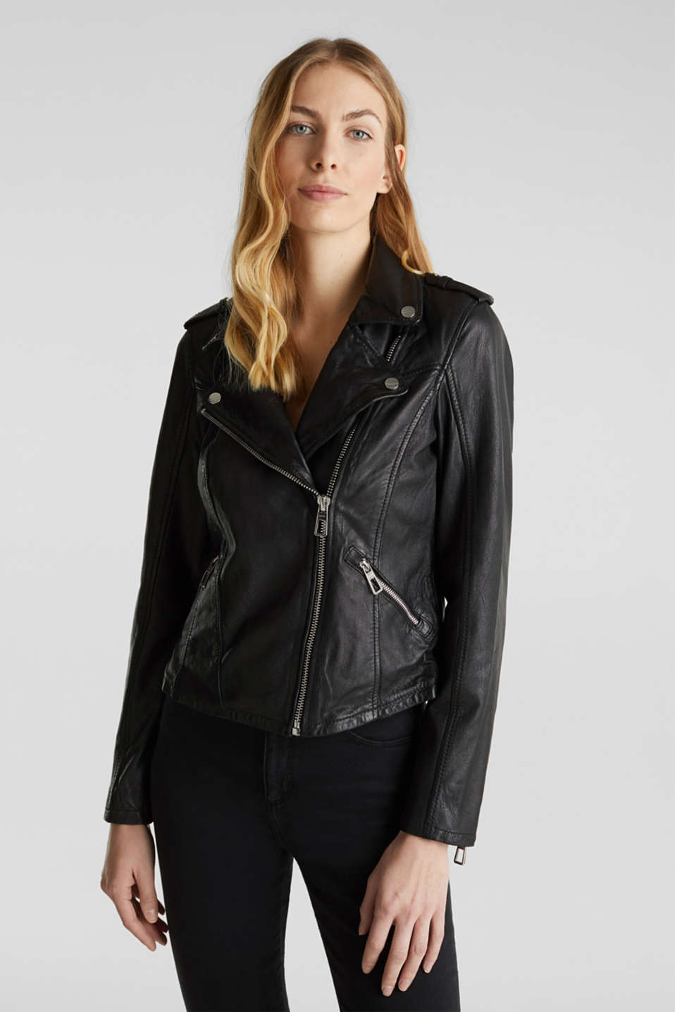 Esprit - Made of leather: biker jacket with a vintage finish