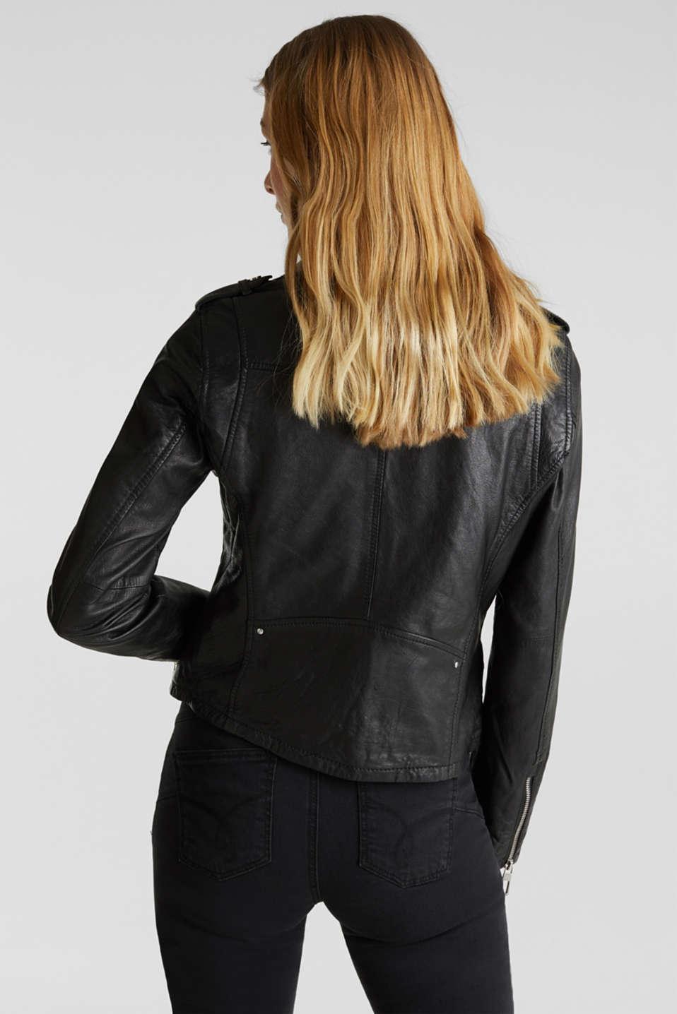 Made of leather: biker jacket with a vintage finish, BLACK, detail image number 3