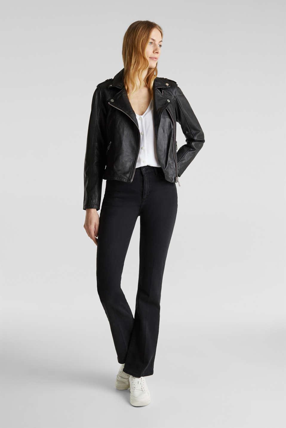 Made of leather: biker jacket with a vintage finish, BLACK, detail image number 1