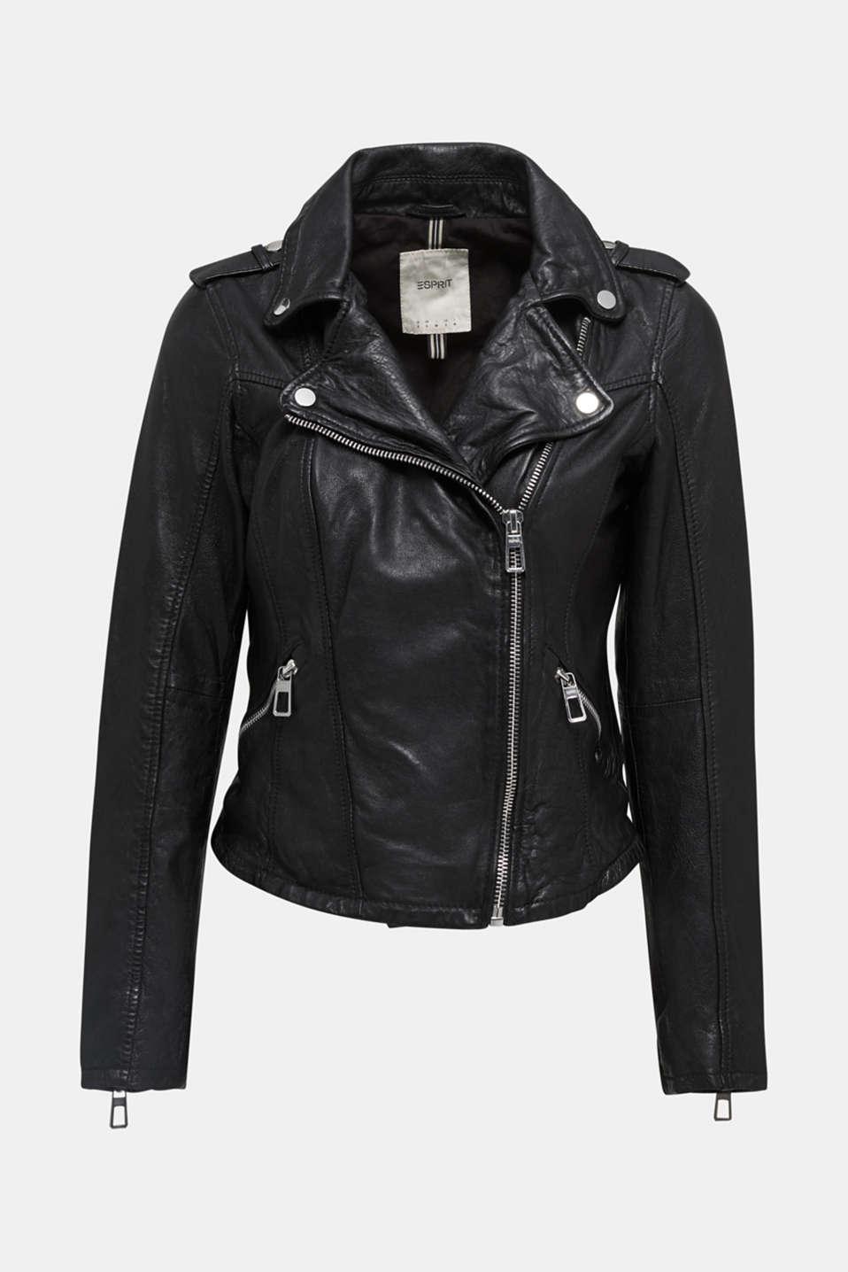 Made of leather: biker jacket with a vintage finish, BLACK, detail image number 6