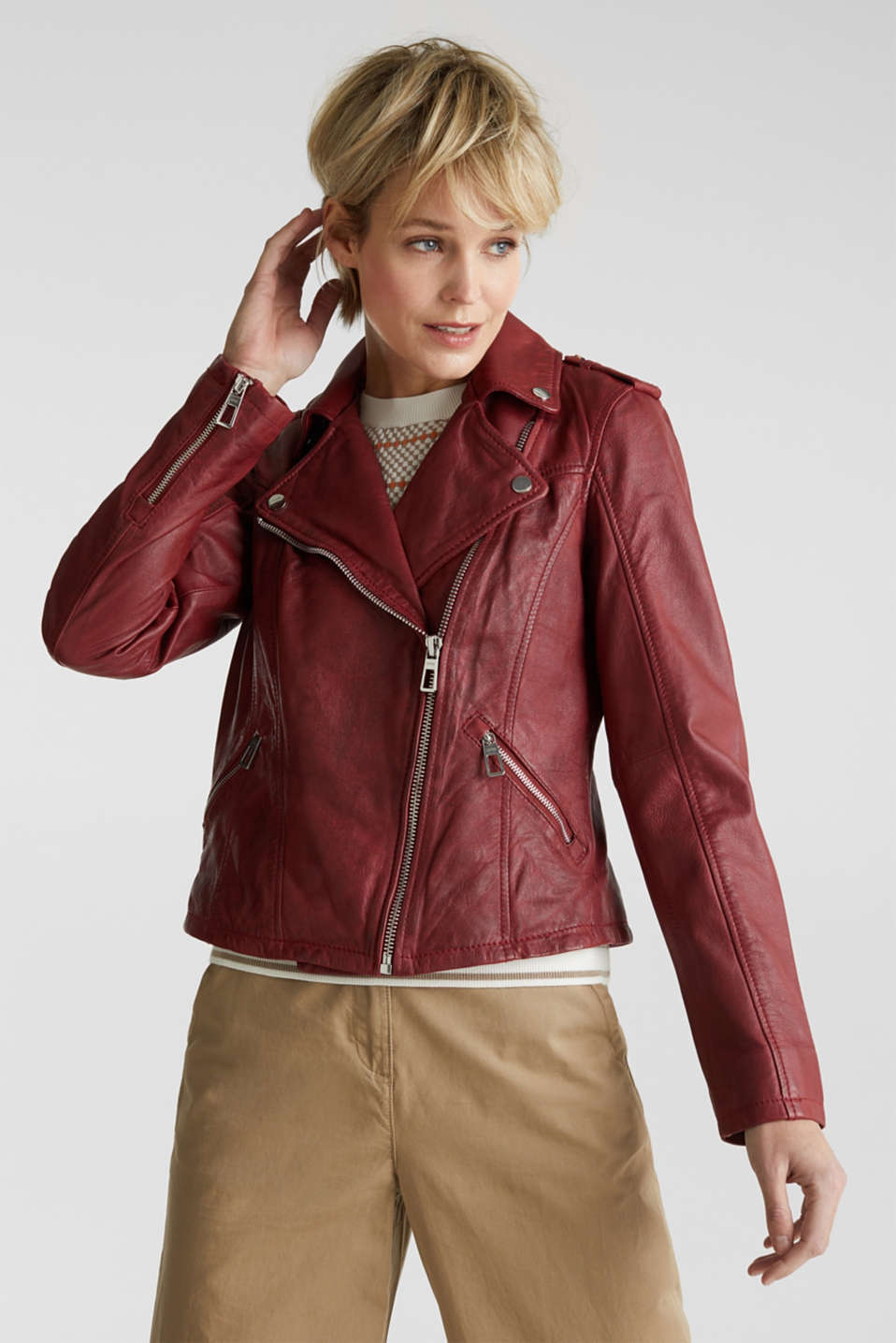 Made of leather: biker jacket with a vintage finish, DARK RED, detail image number 0