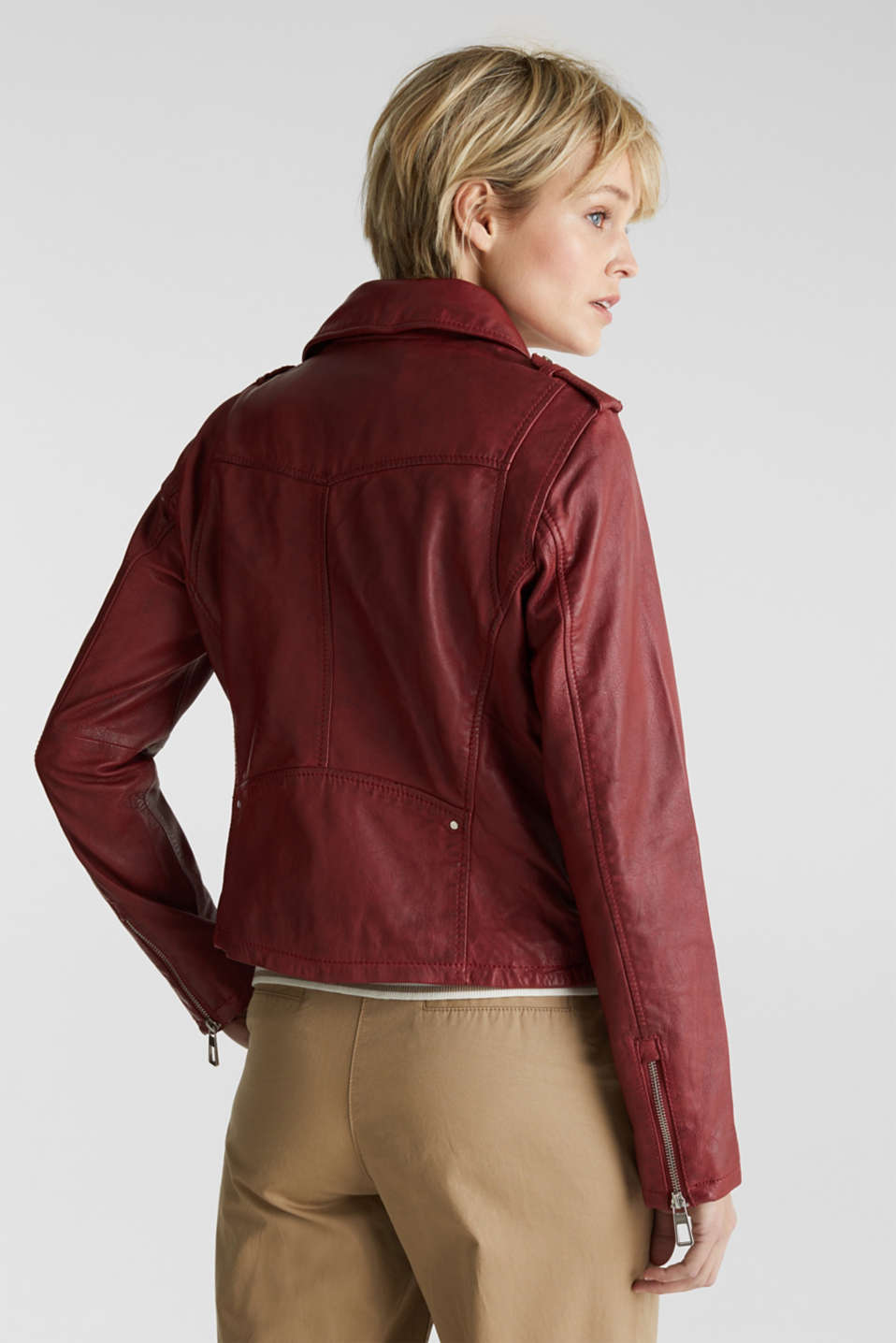 Made of leather: biker jacket with a vintage finish, DARK RED, detail image number 2