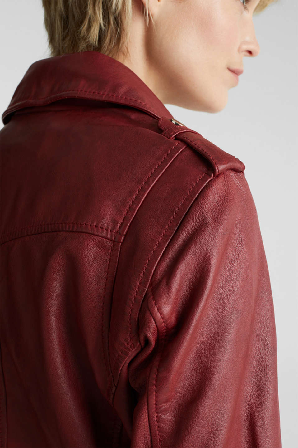 Made of leather: biker jacket with a vintage finish, DARK RED, detail image number 4
