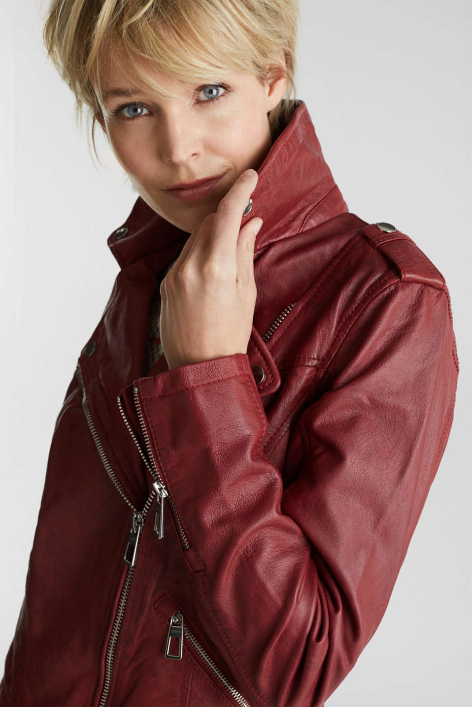 Made of leather: biker jacket with a vintage finish, DARK RED, detail image number 5