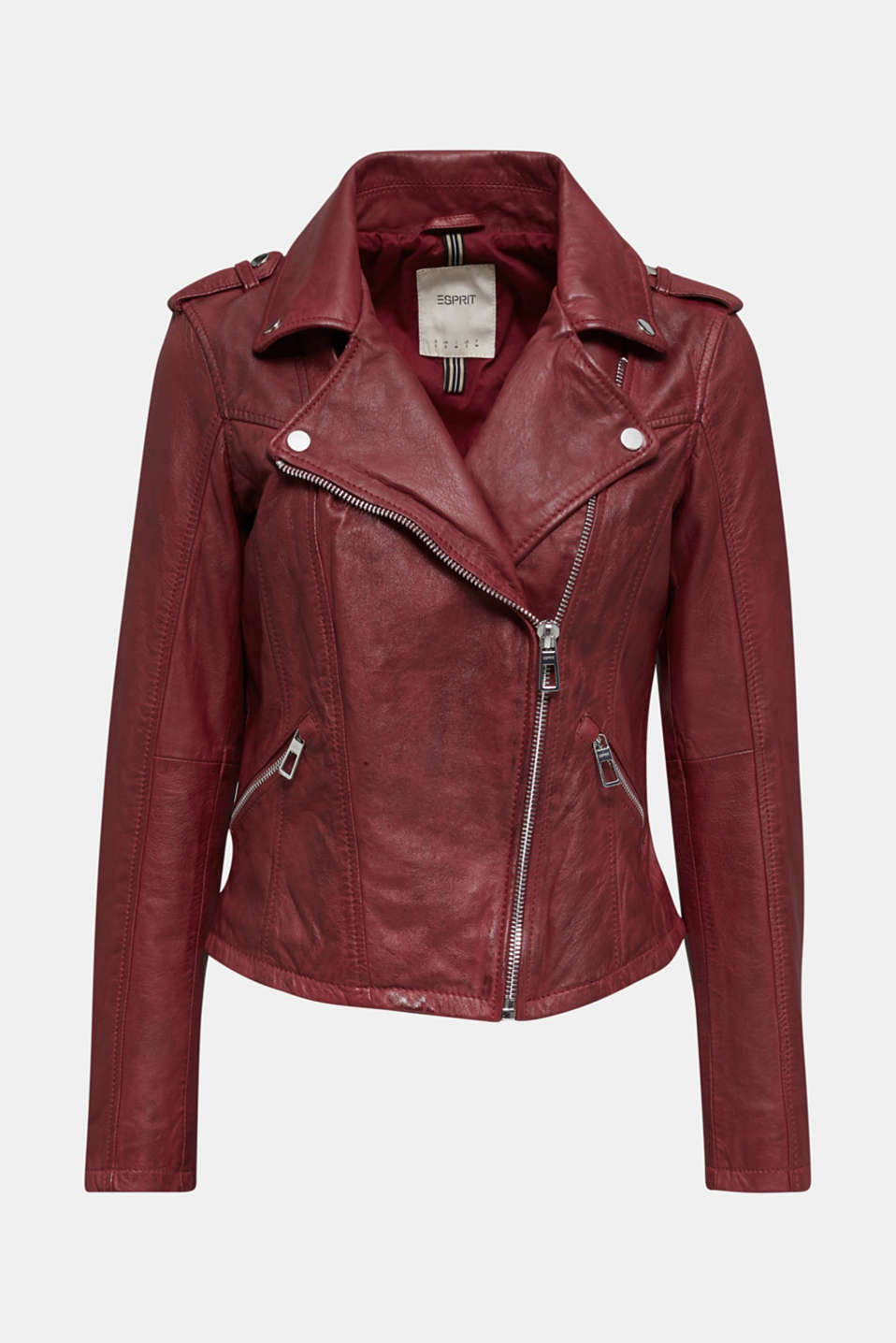 Made of leather: biker jacket with a vintage finish, DARK RED, detail image number 6