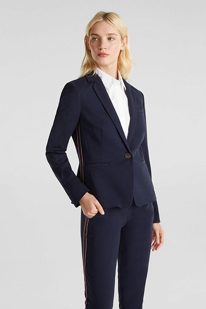 Blazer de jersey elástico con costuras decorativas, NAVY, detail image number 0