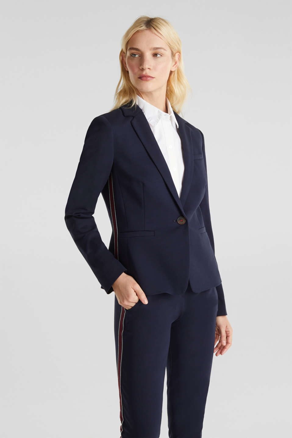 Stretch jersey blazer with decorative stitching, NAVY, detail image number 0