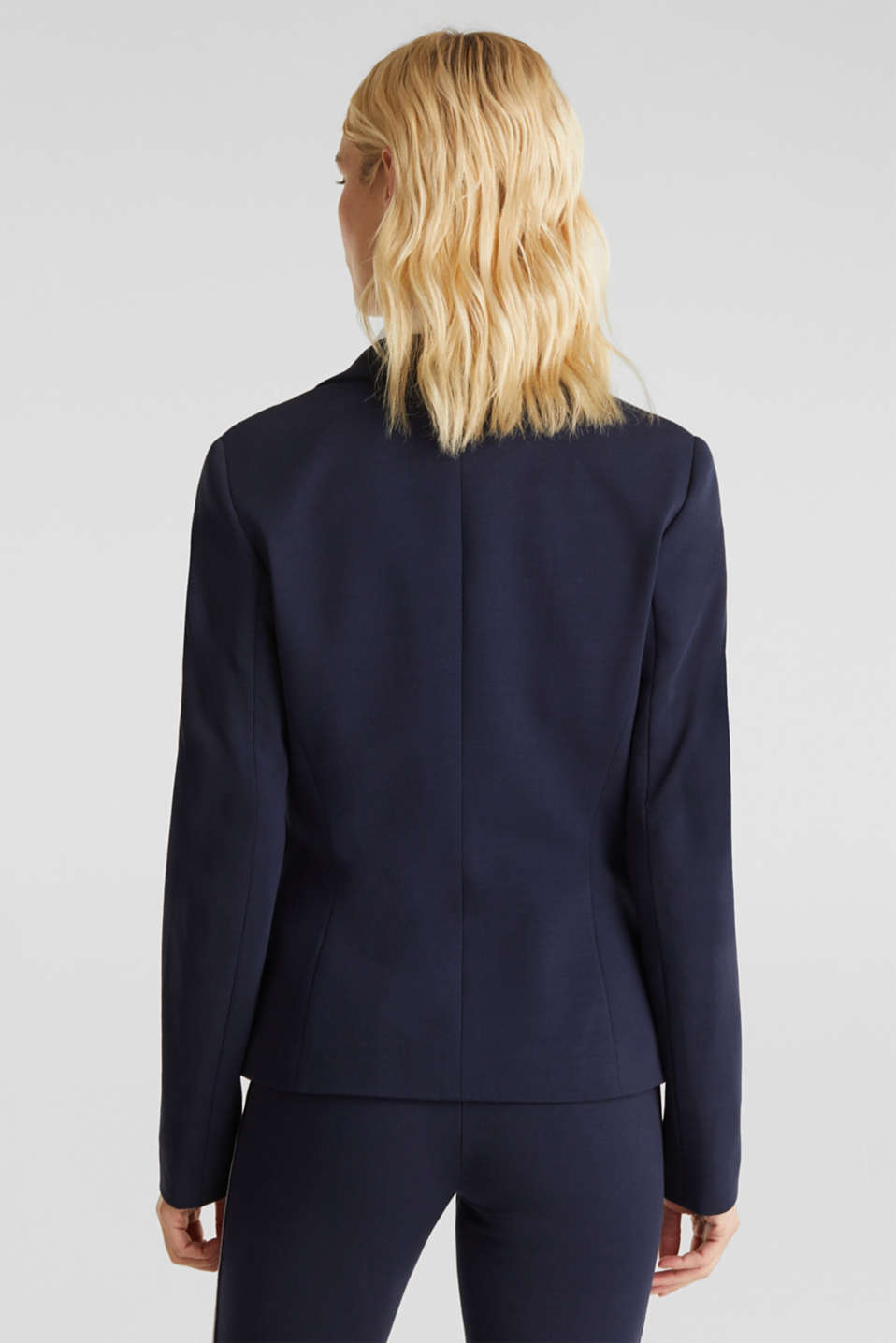 Stretch jersey blazer with decorative stitching, NAVY, detail image number 3