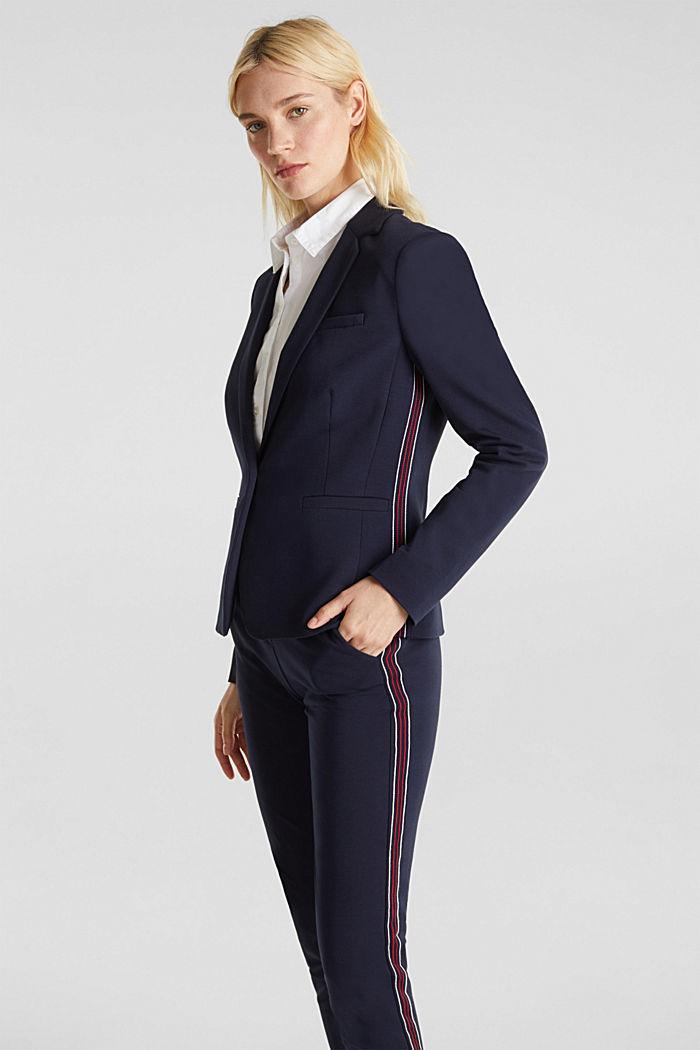 Blazer de jersey elástico con costuras decorativas, NAVY, detail image number 5