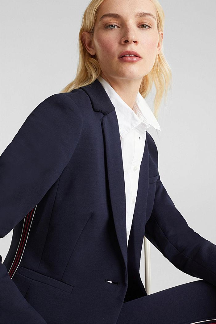Blazer de jersey elástico con costuras decorativas, NAVY, detail image number 6