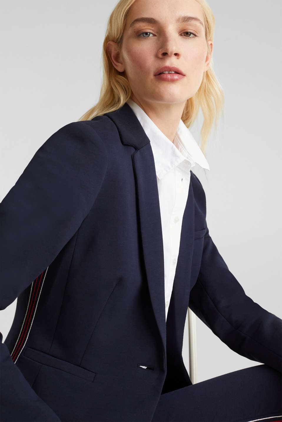 Stretch jersey blazer with decorative stitching, NAVY, detail image number 6