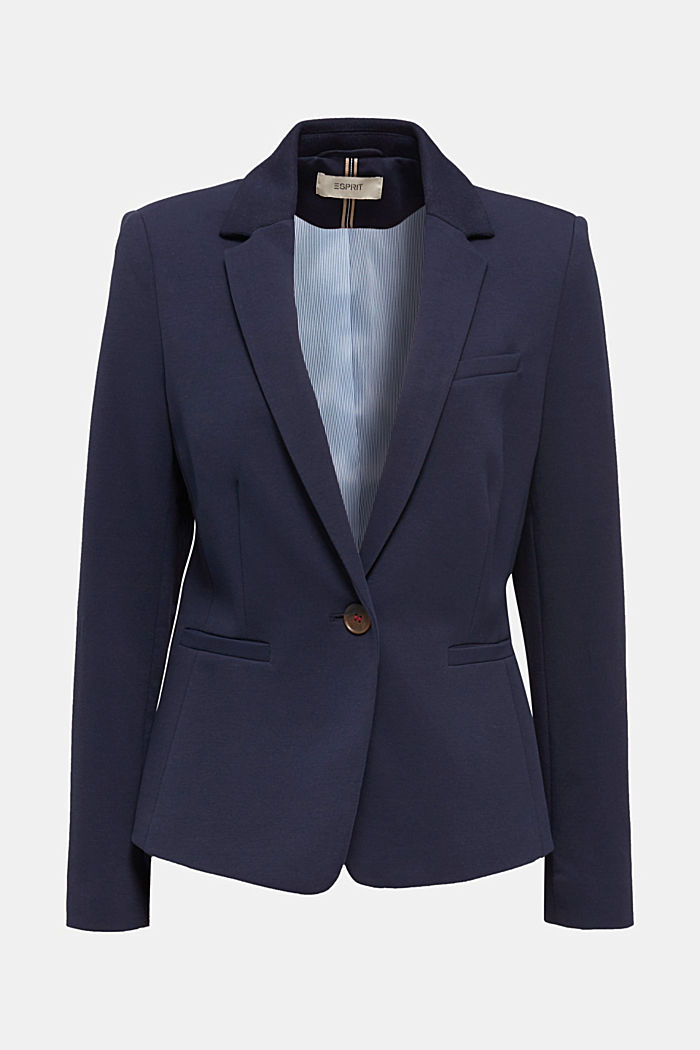 Blazer de jersey elástico con costuras decorativas, NAVY, detail image number 7