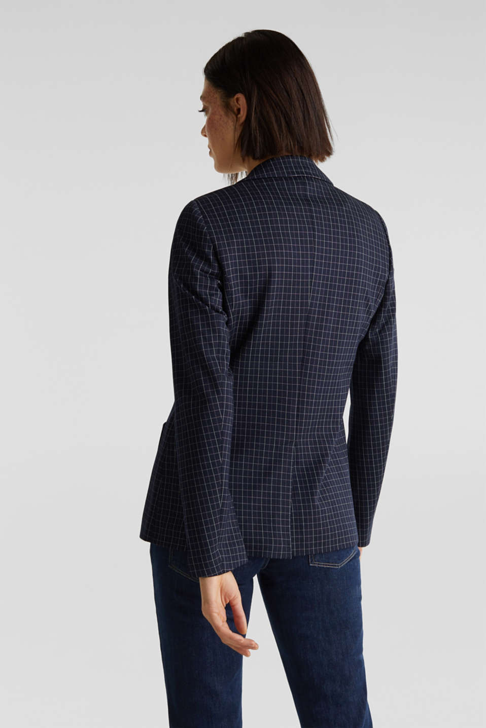 Stretch jersey blazer with a check pattern, NAVY 3, detail image number 3