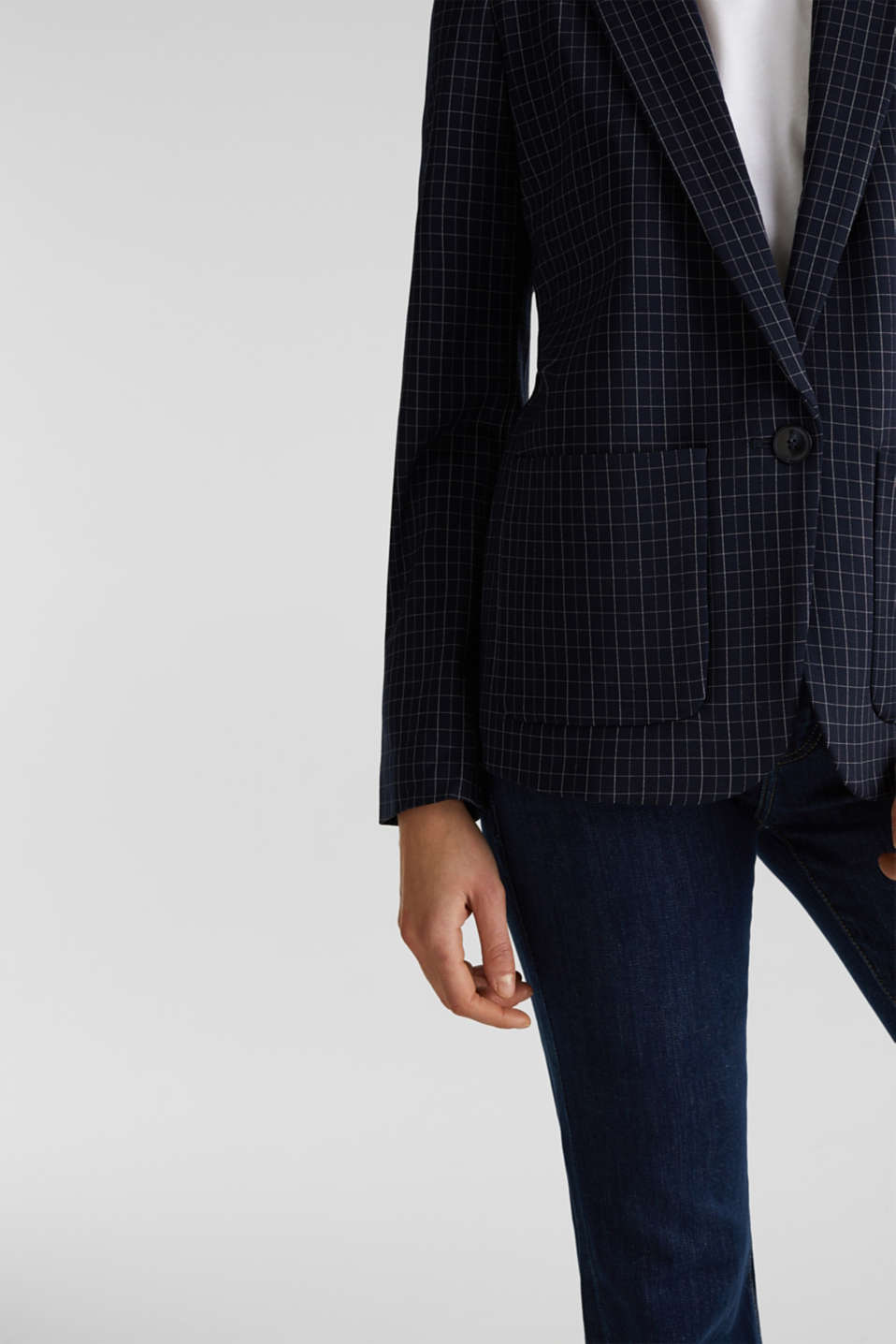 Stretch jersey blazer with a check pattern, NAVY 3, detail image number 5