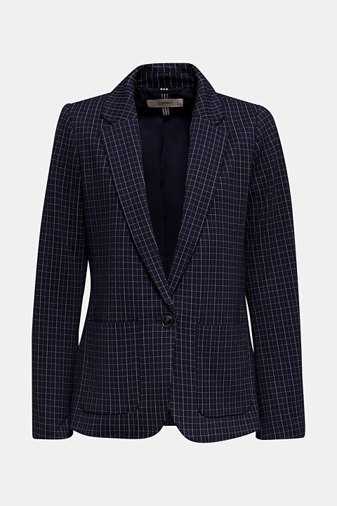 Stretch jersey blazer with a check pattern