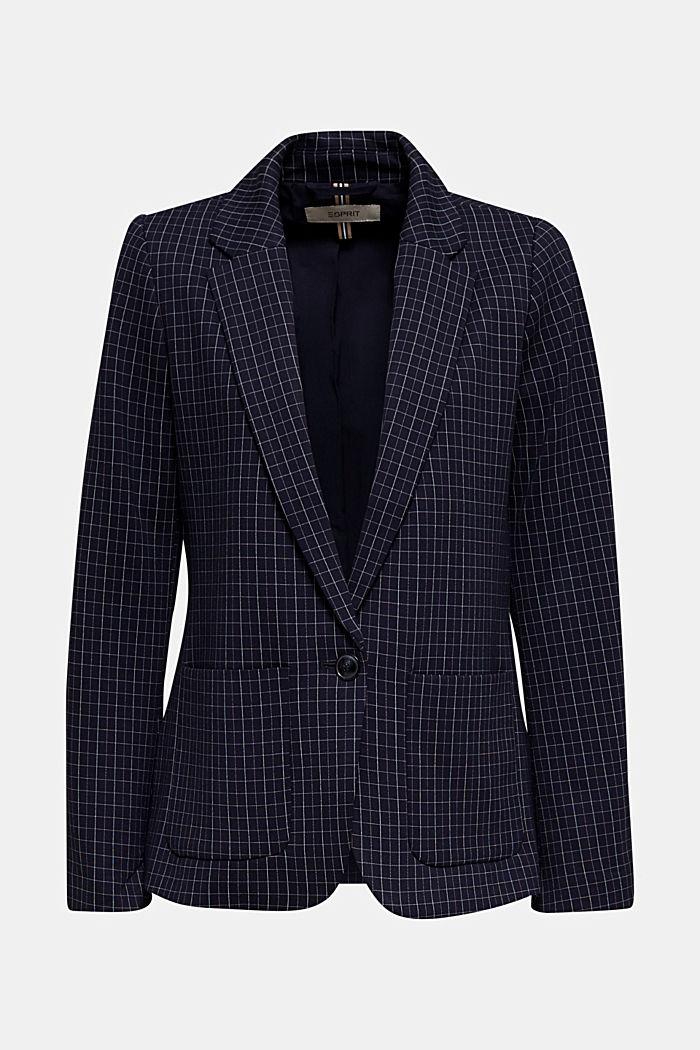 Stretch jersey blazer with a check pattern