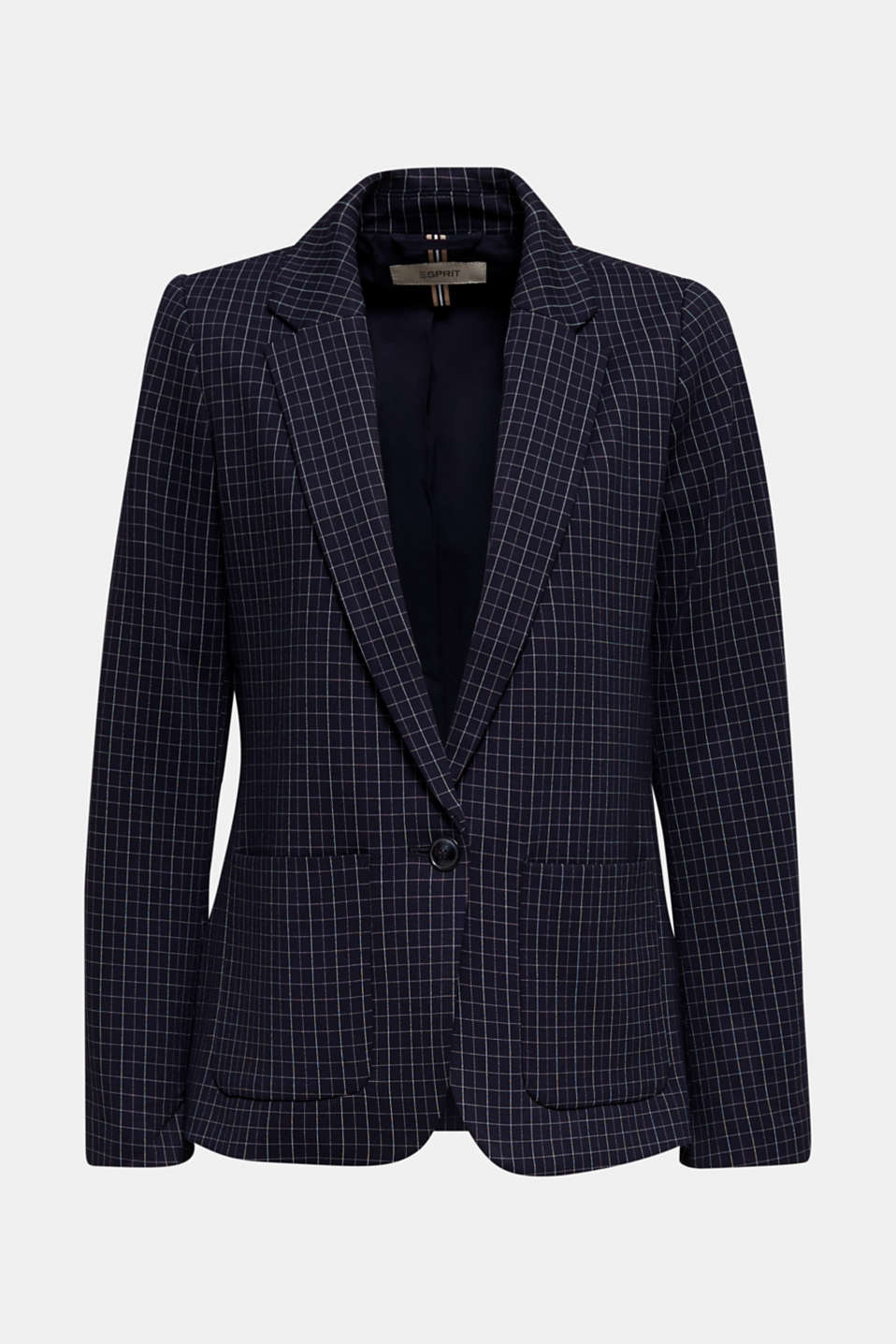 Stretch jersey blazer with a check pattern, NAVY 3, detail image number 7