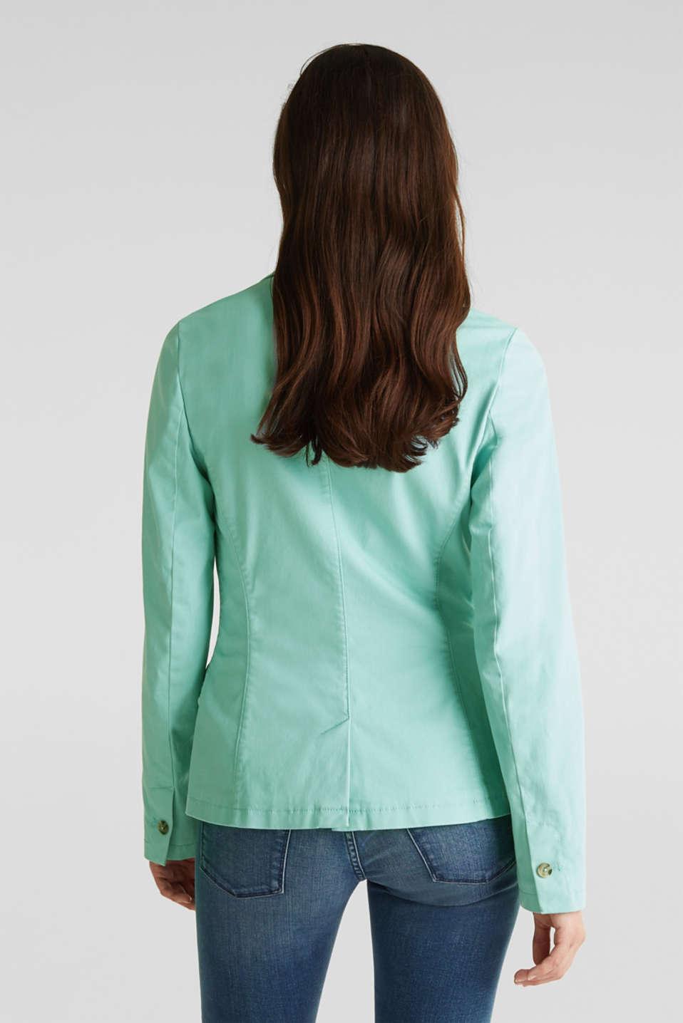 Stretch cotton blazer with a peach finish, LIGHT AQUA GREEN, detail image number 3