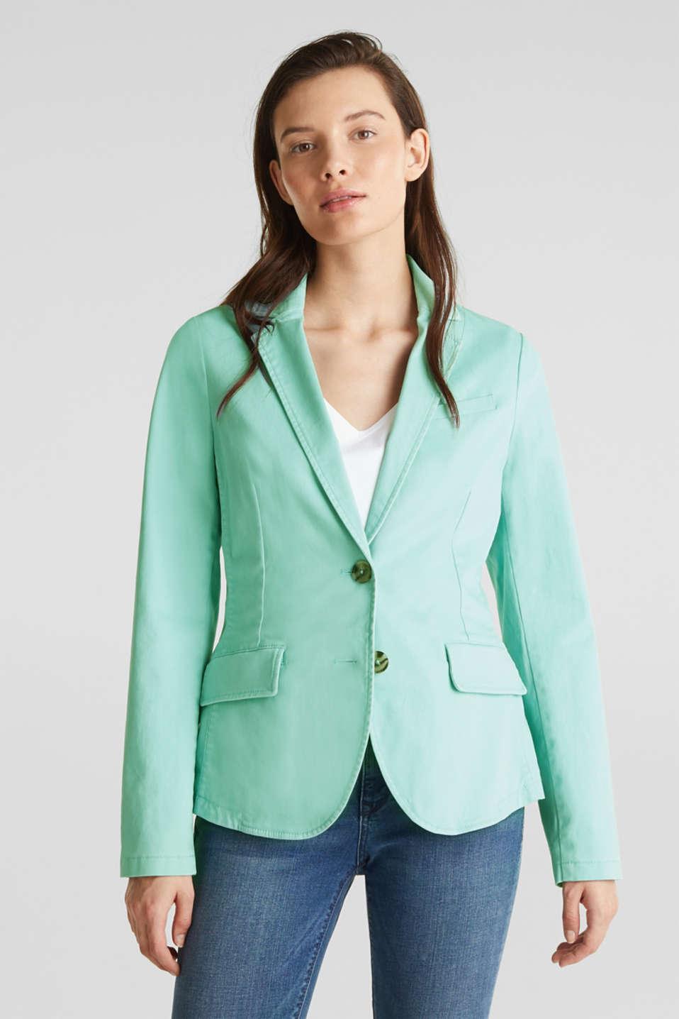 Stretch cotton blazer with a peach finish, LIGHT AQUA GREEN, detail image number 6