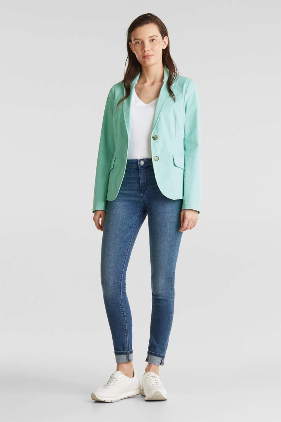 Stretch cotton blazer with a peach finish, LIGHT AQUA GREEN, detail image number 1