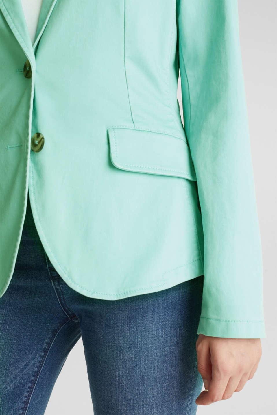 Stretch cotton blazer with a peach finish, LIGHT AQUA GREEN, detail image number 2