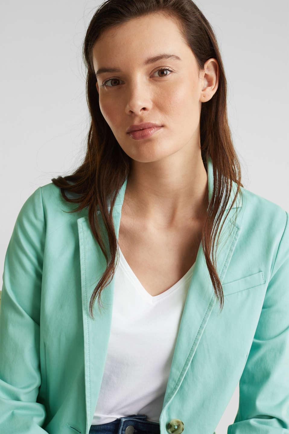 Stretch cotton blazer with a peach finish, LIGHT AQUA GREEN, detail image number 7