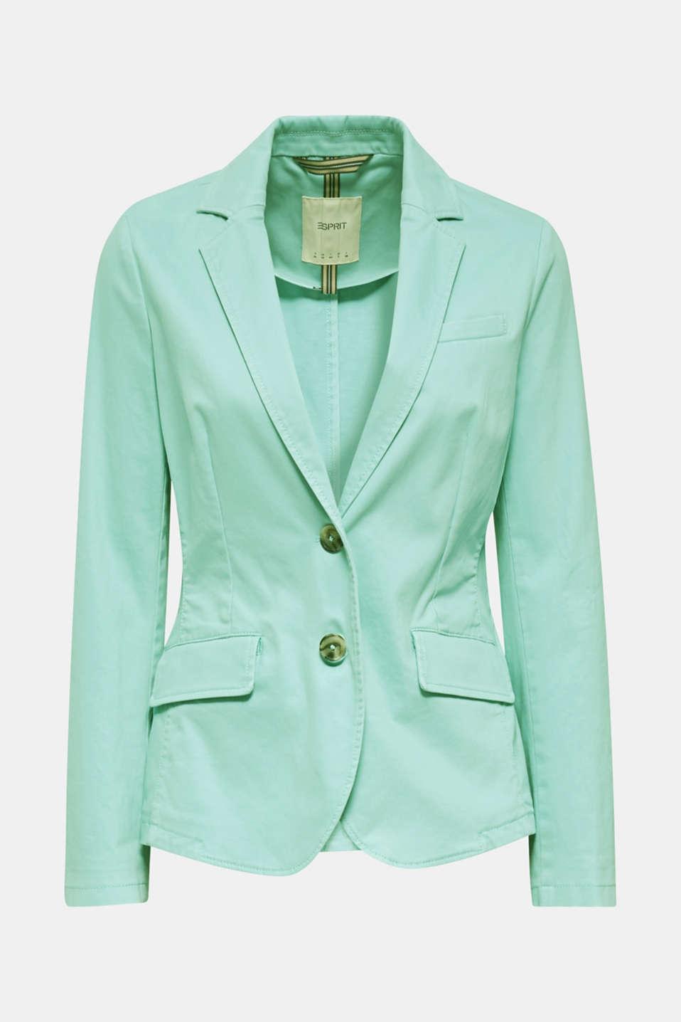 Stretch cotton blazer with a peach finish, LIGHT AQUA GREEN, detail image number 8