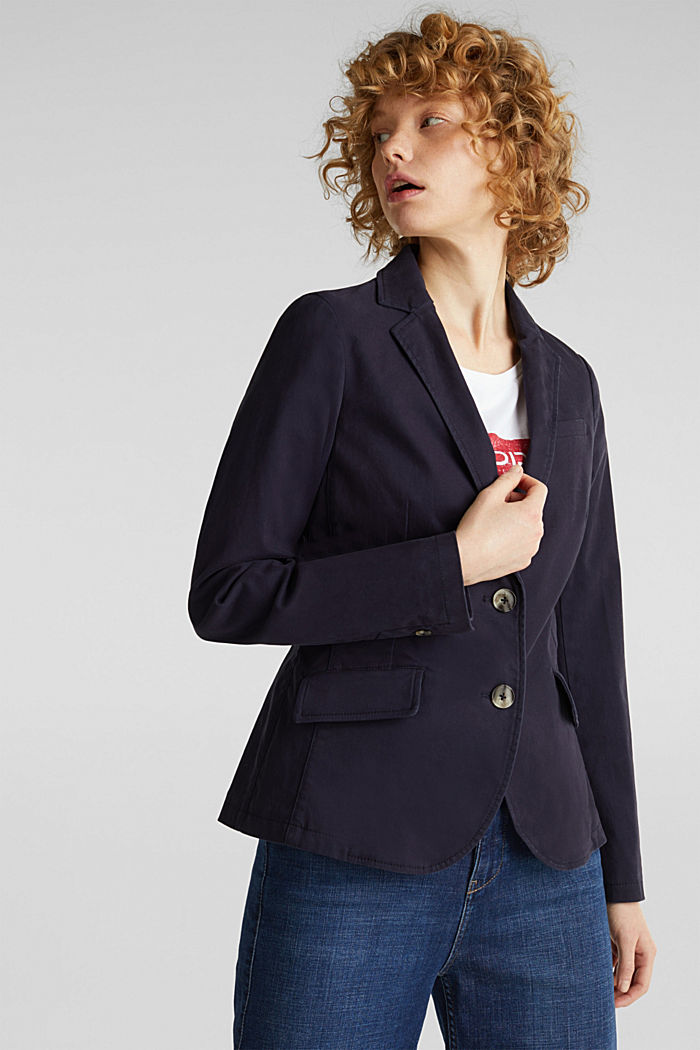 Stretch cotton blazer with a peach finish, NAVY, detail image number 0