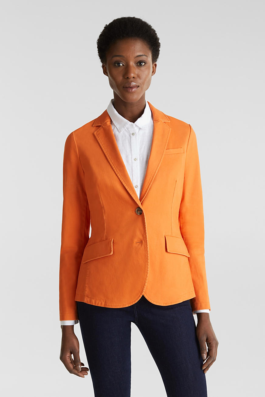 Katoen-stretch-blazer met peach-finish