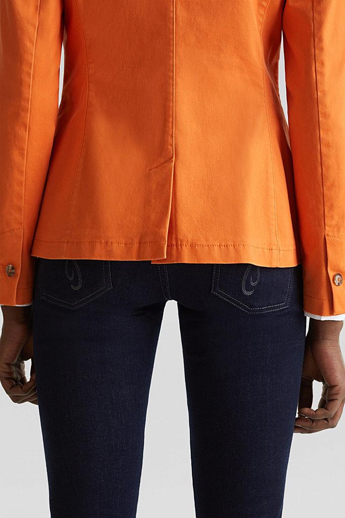 Baumwoll-Stretch-Blazer mit Peach-Finish, RUST ORANGE, detail image number 5