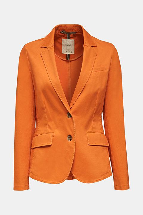 Stretch cotton blazer with a peach finish