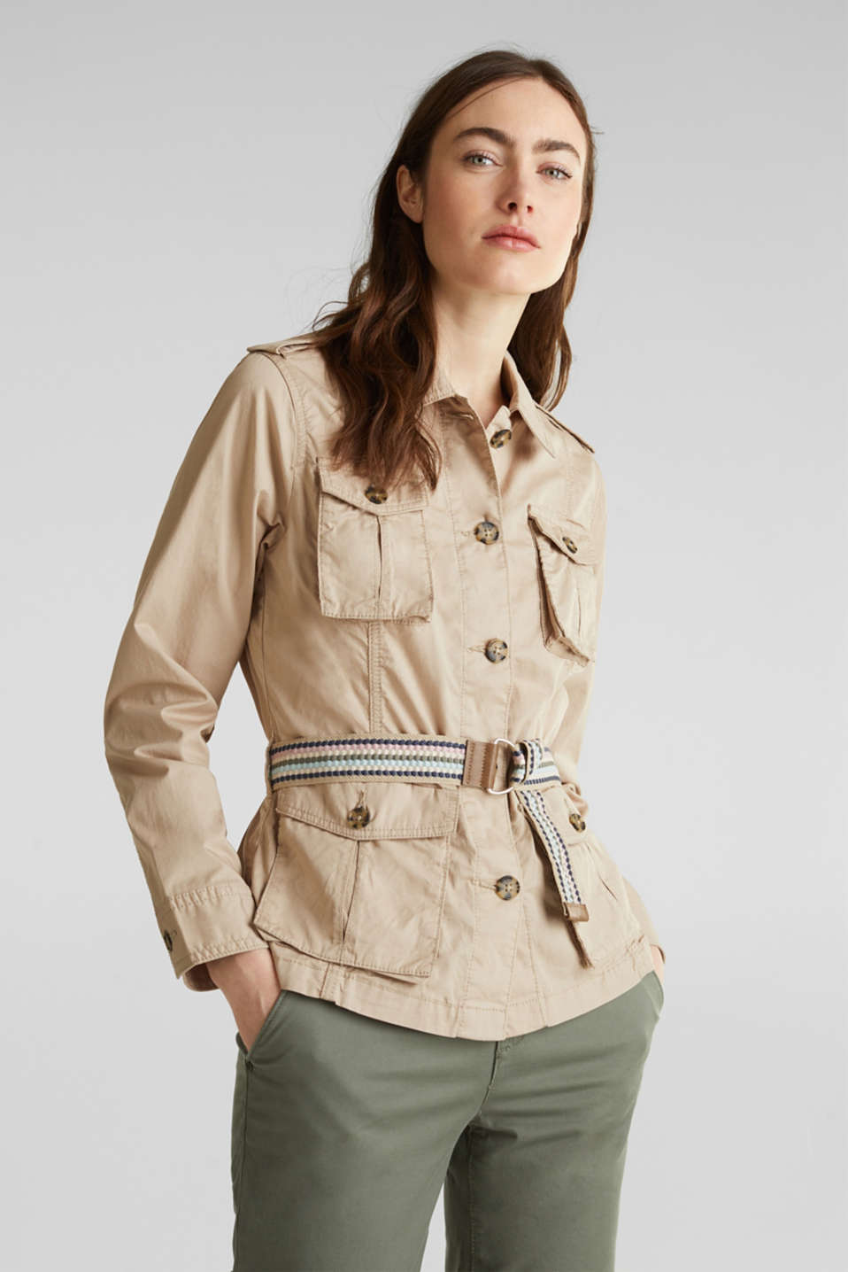 Esprit - Utility jacket with a belt, 100% organic cotton