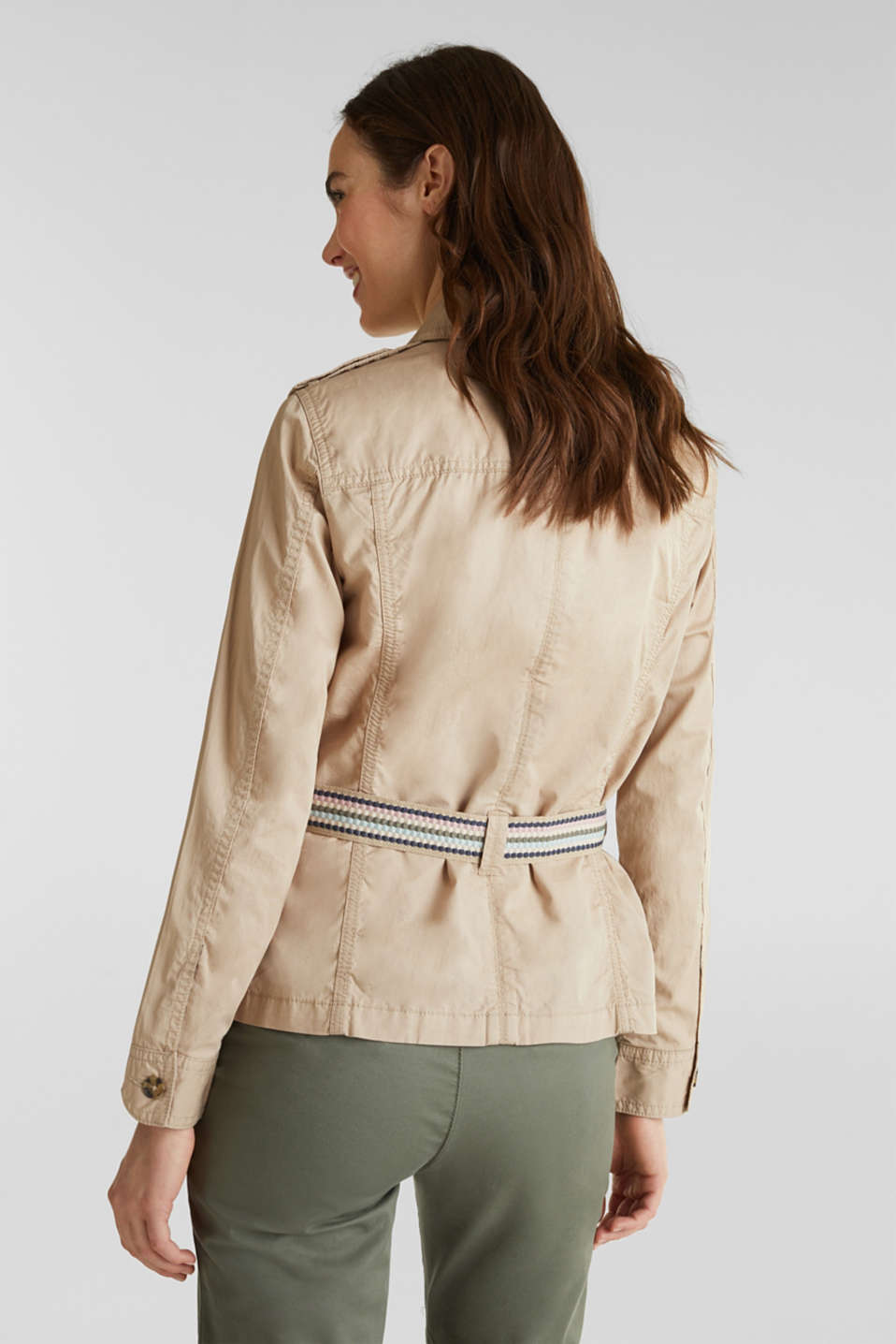 Jacket with a belt, 100% organic cotton, BEIGE, detail image number 3