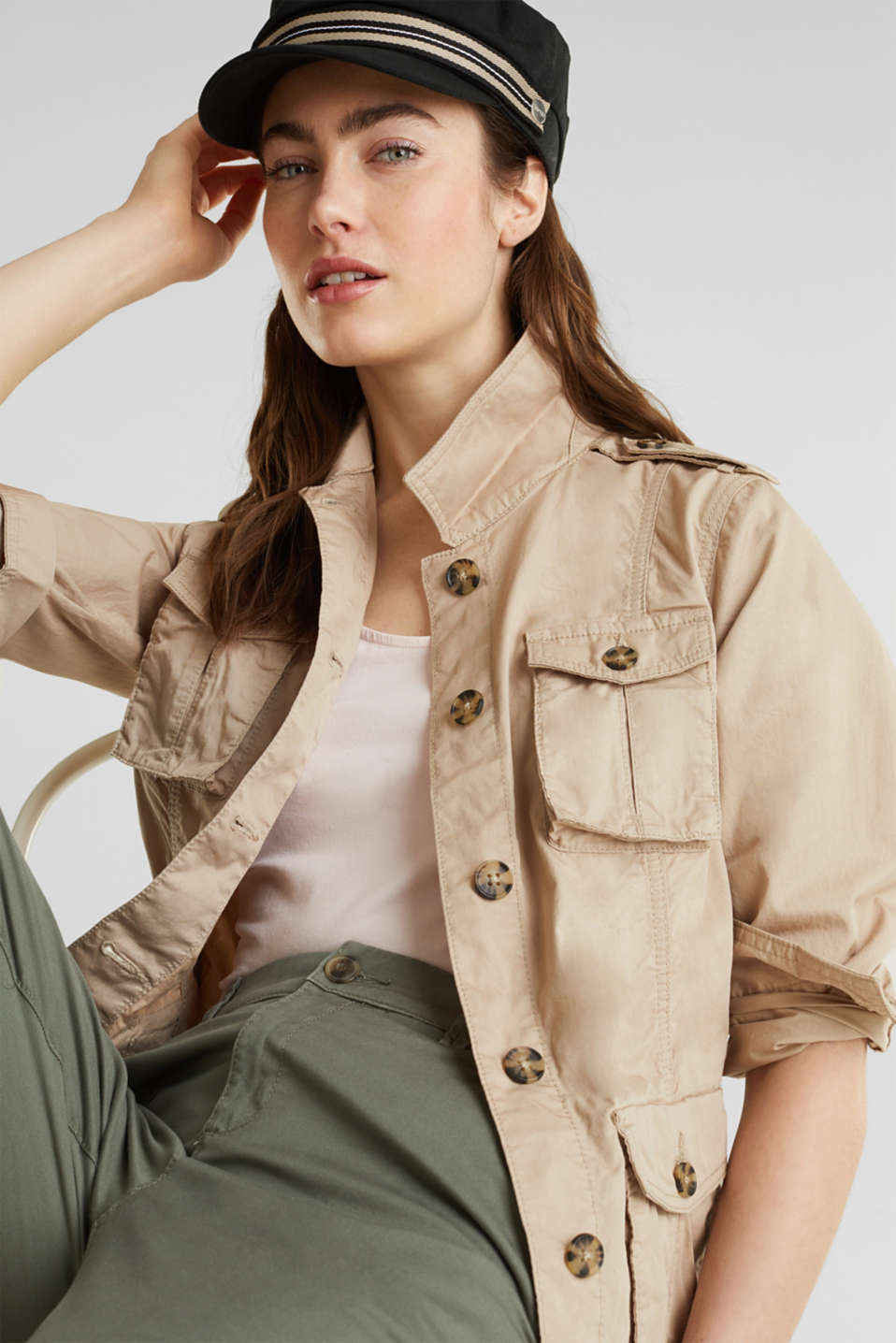 Jacket with a belt, 100% organic cotton, BEIGE, detail image number 5