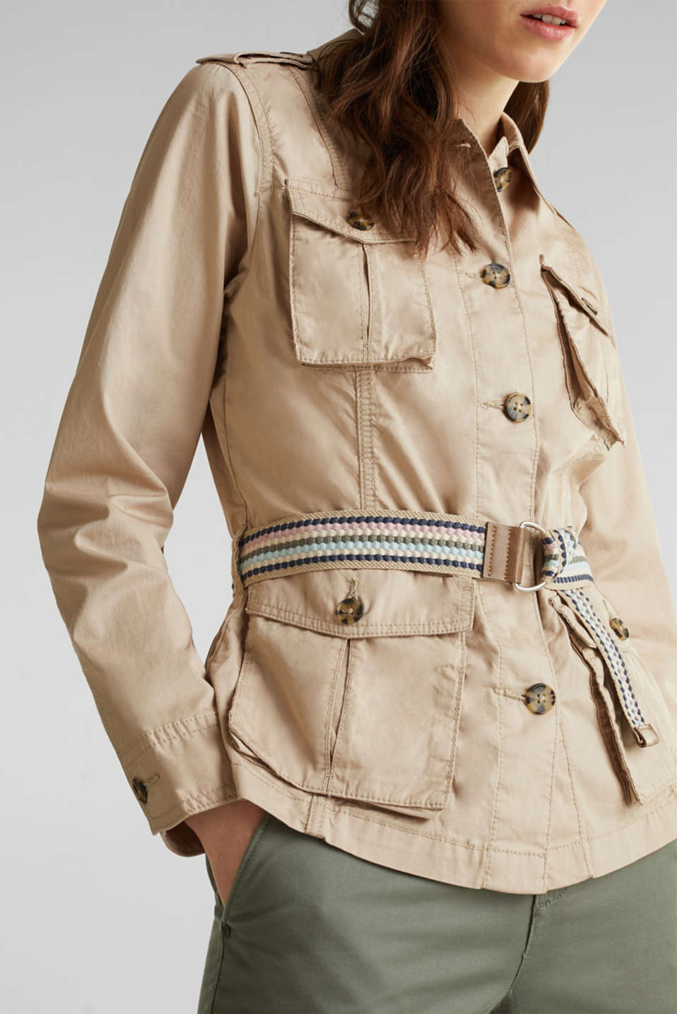 Jacket with a belt, 100% organic cotton, BEIGE, detail image number 2