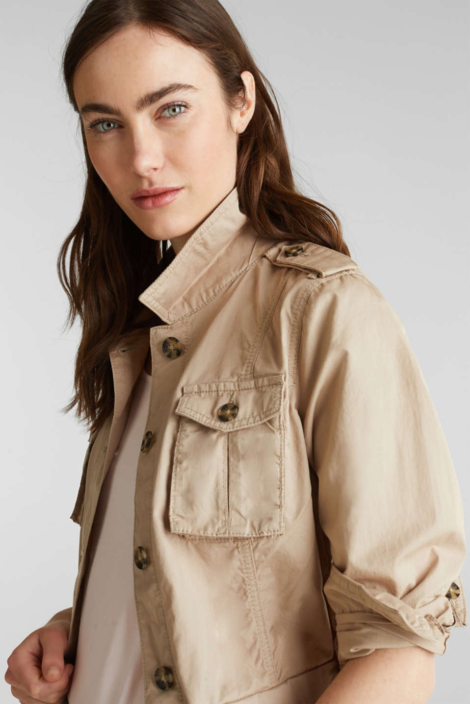 Jacket with a belt, 100% organic cotton, BEIGE, detail image number 6